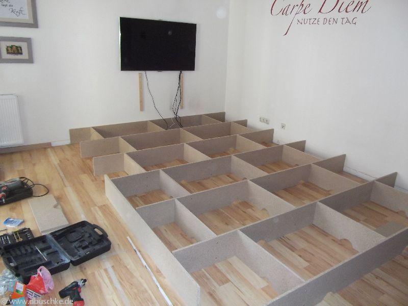 detaillierte anleitung mit bildern f r den bau eines wohnzimmer podest mit dieser anleitung. Black Bedroom Furniture Sets. Home Design Ideas