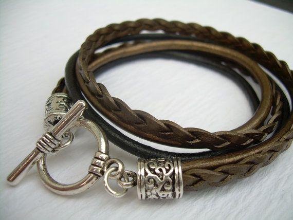 Womens Leather Bracelet Metallic Gold Bronze And Black Triple Strand Double Wrap Gift Jewelry Uni
