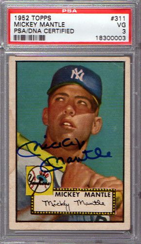 Mickey Mantle Autographed Signed 1952 Topps Rookie Card Psa Dna Certified Graded Mickey Mantle Baseball Card Values Baseball Cards