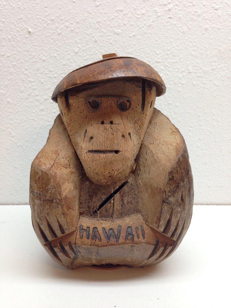 Vintage Hawaiian Souvenir Coconut Monkey Coin Bank Hawaii Hand Carved Money Slot