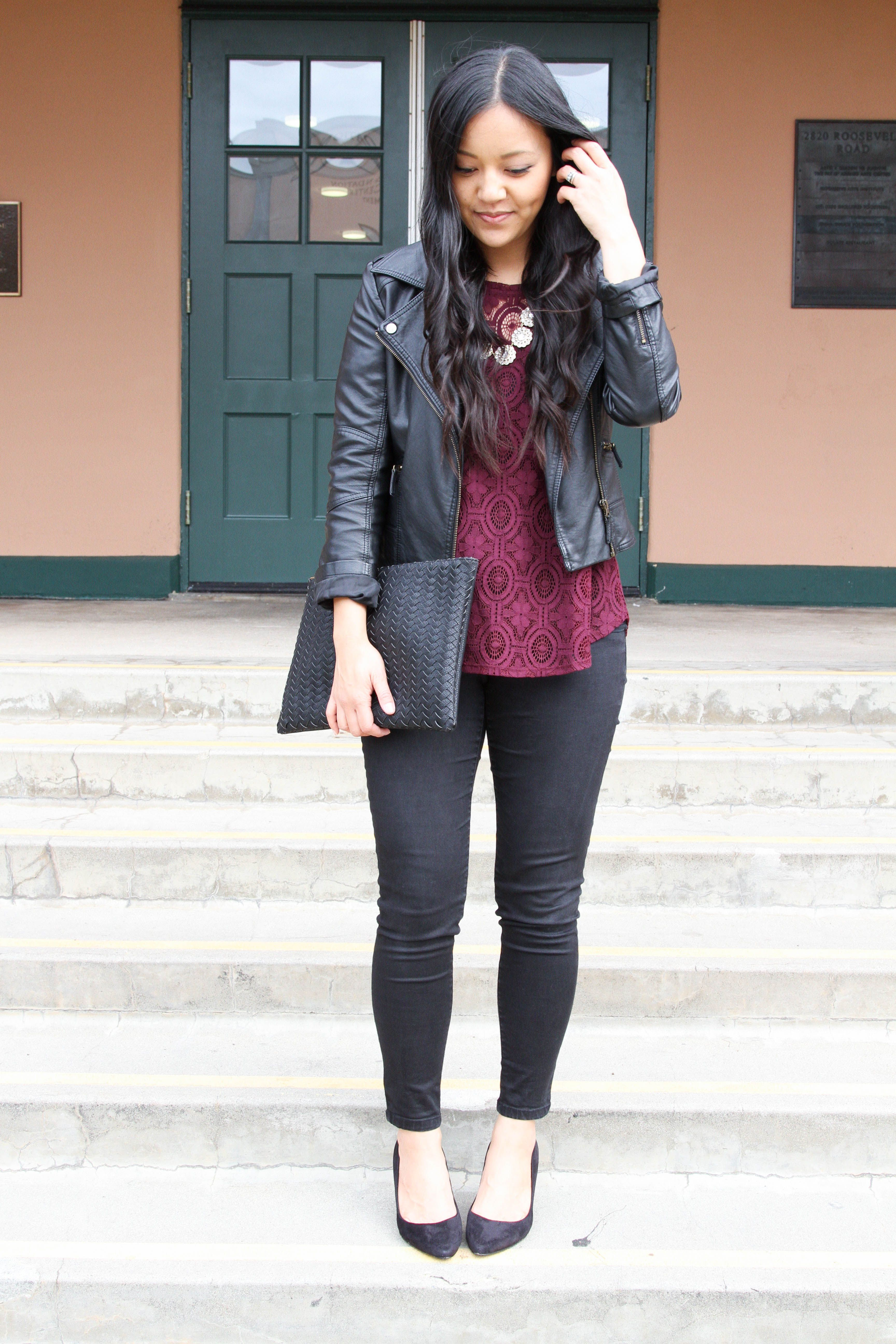 d5462d04257 Dressy Casual Holiday Outfit Ideas  Black Moto Jacket + Lace Top + Black  Pumps + Statement Necklace + Clutch