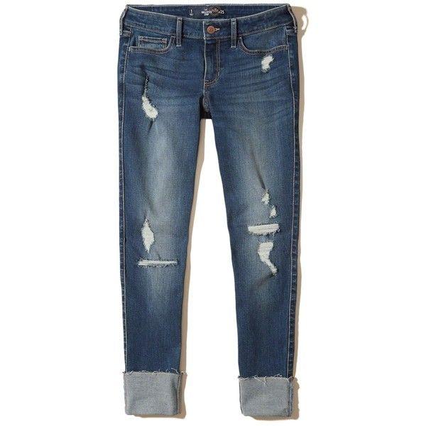 Hollister Low-Rise Crop Super Skinny Jeans ($60) ❤ liked on Polyvore  featuring - Hollister Low-Rise Crop Super Skinny Jeans ($60) ❤ Liked On