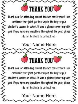 Freebie Editable Parent Teacher Conference Forms  Thank You