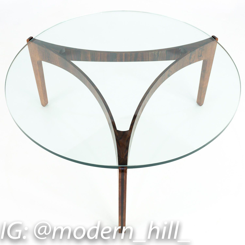Sven Elekjaer Mid Century Modern Rosewood And Glass Round Coffee