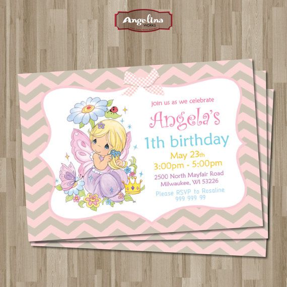 Precious Moments Birthday Invitation DIY Card By AngelinaWorks 1290