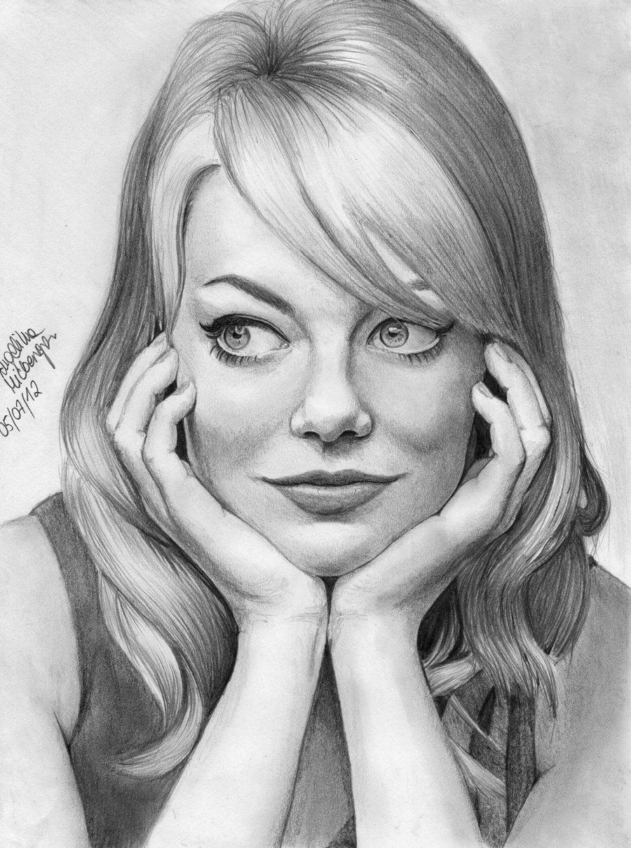 Emma Stone Zgirl3210 Deviantart Traditional Pencil Drawing Celebrities Movie Stars