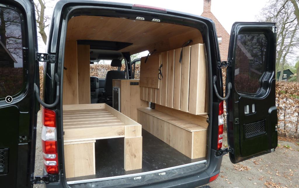 Dubbel bed opklapbaar camper mercedes sprinter eiken interieur camper bouwen pinterest - Amenager zijn caravan ...