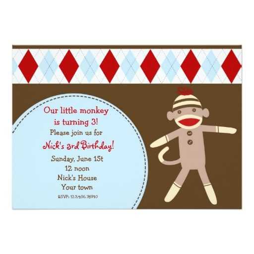 Sock Monkey Custom Birthday Party Invitaitons Announcements