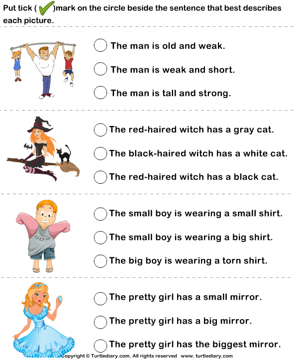 Kindergarten Adjective Worksheets adjectives exercises for kids – Kindergarten Adjective Worksheets