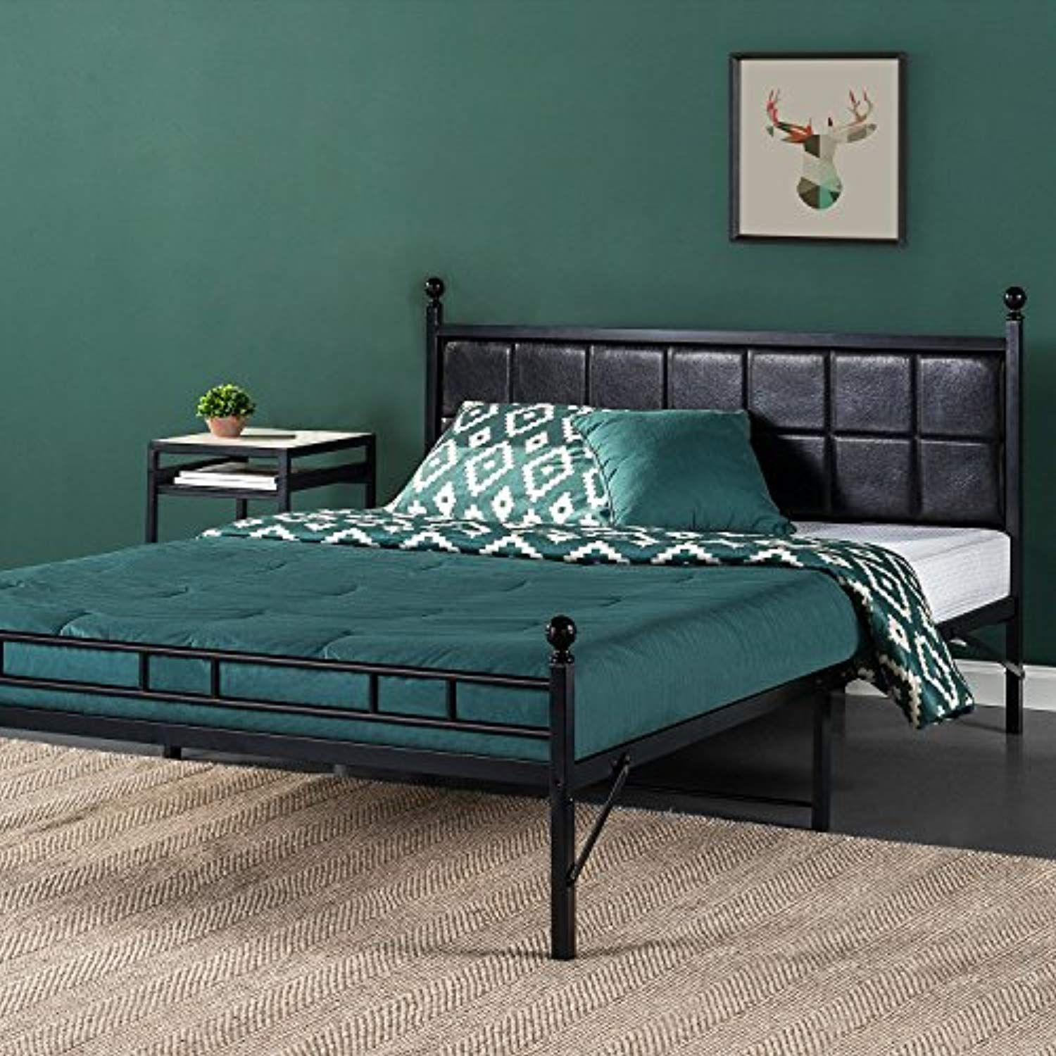 Zinus Metal Platform Bed Bed Frame With Faux Leather Square
