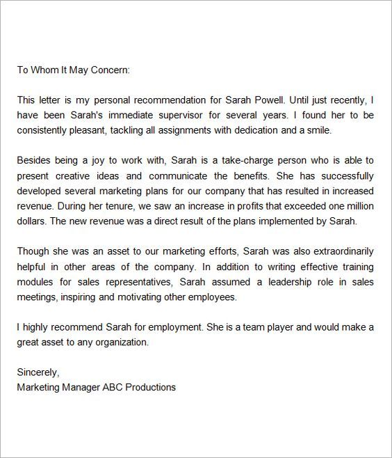 recommendation letter for employment from manager