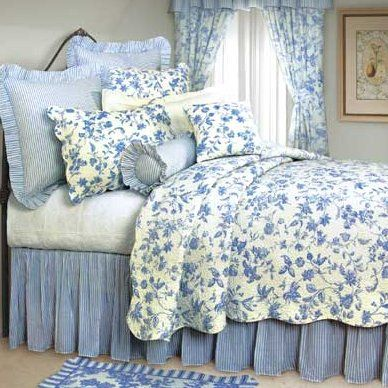 Brighton Blue Toile Quilt And Bedding Blue Rooms Country Bedroom Blue White Decor