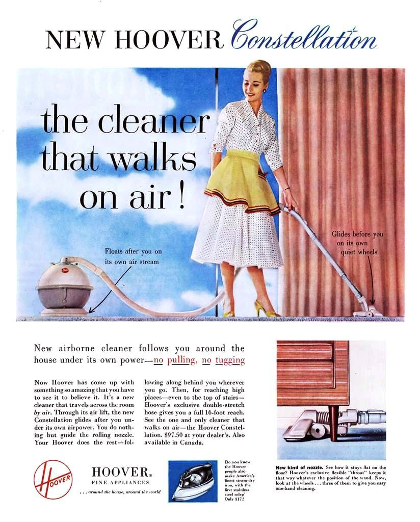 finger tip cleaning detail from 1955 lewyt vacuum ad hoover constellation 1956