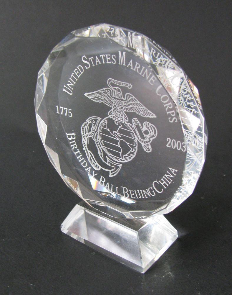 USMC Marine Corps Crystal Figurine SEMPER FIDELIS Logo Birthday Ball China 2003 #usmc #unitedstatesmarinecorps #birthdayball