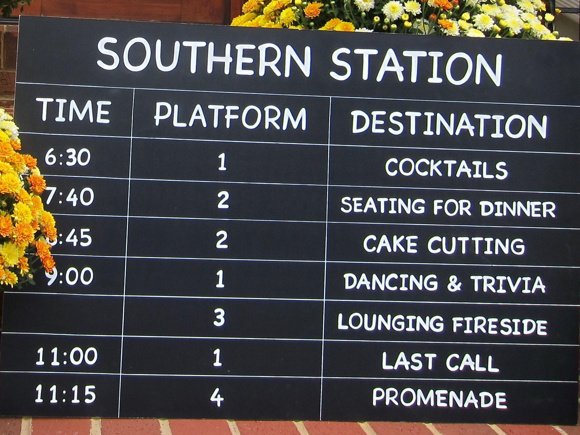 Chalkboard Wedding Reception Itinerary Similar To A Train Platform Arrival Departure Board