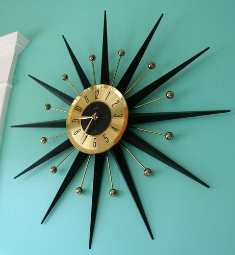 id love one of these welby mid century modern starburst sunburst atomic ball wall clock home. Black Bedroom Furniture Sets. Home Design Ideas