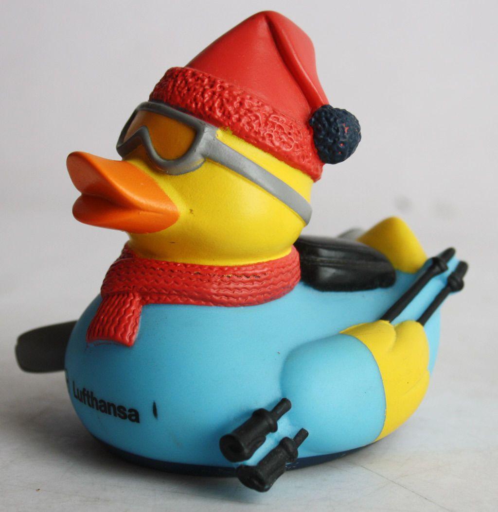 ultra rare first class lufthansa winter ski rubber duck blue