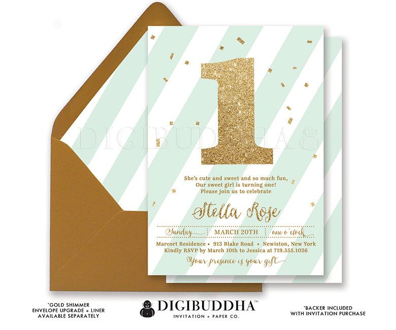 FIRST BIRTHDAY INVITATION Mint & Gold Glitter by digibuddhaPaperie