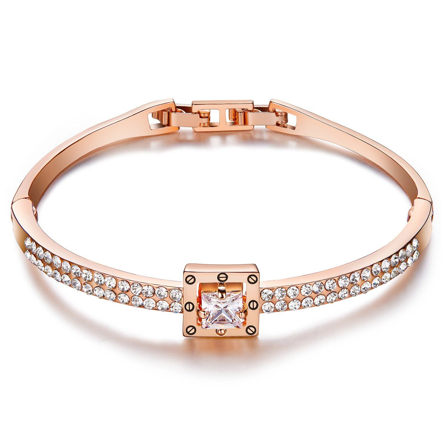 Valentines gifts menton ezil princess crystal bracelet rose gold