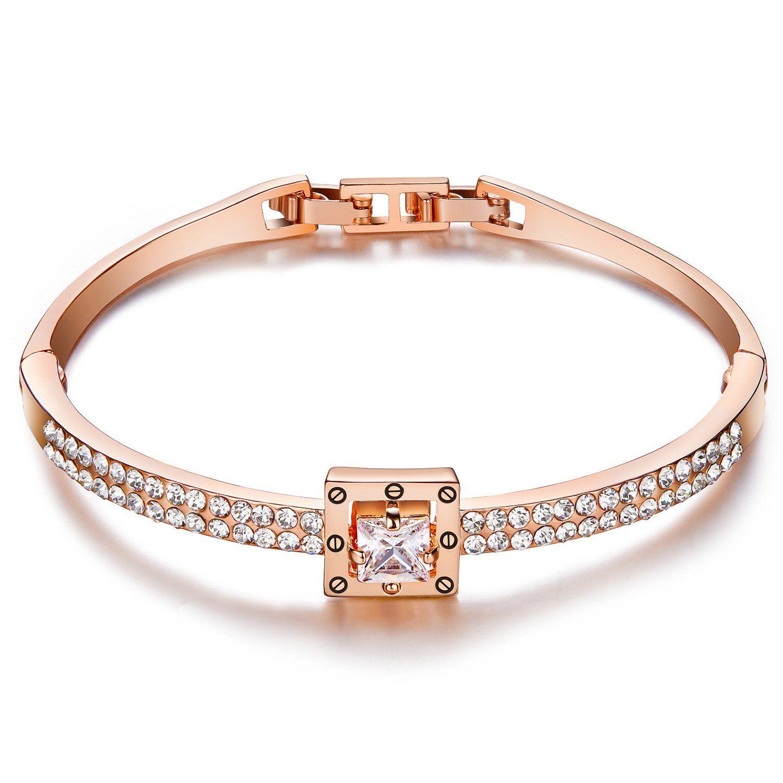 Valentines gifts menton ezil princess crystal bracelet rose gold