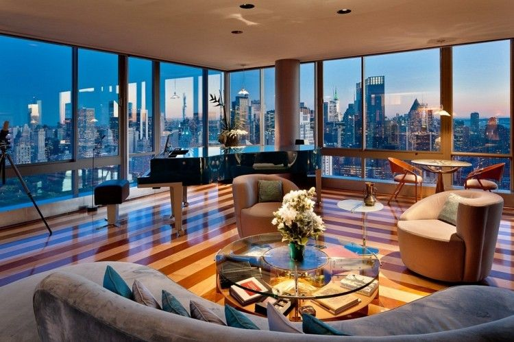 Best penthouse interiors panorama of the city living for Luxury apartments new york city