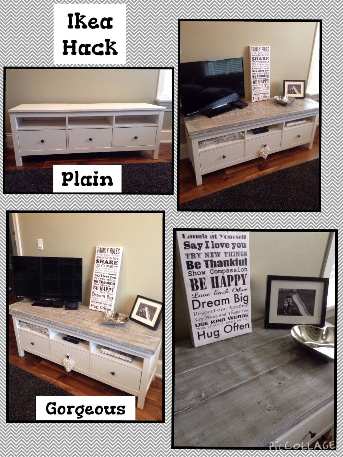 My Ikea Hack Hemnes Tv Unit With An Added Whitewash Wood Top