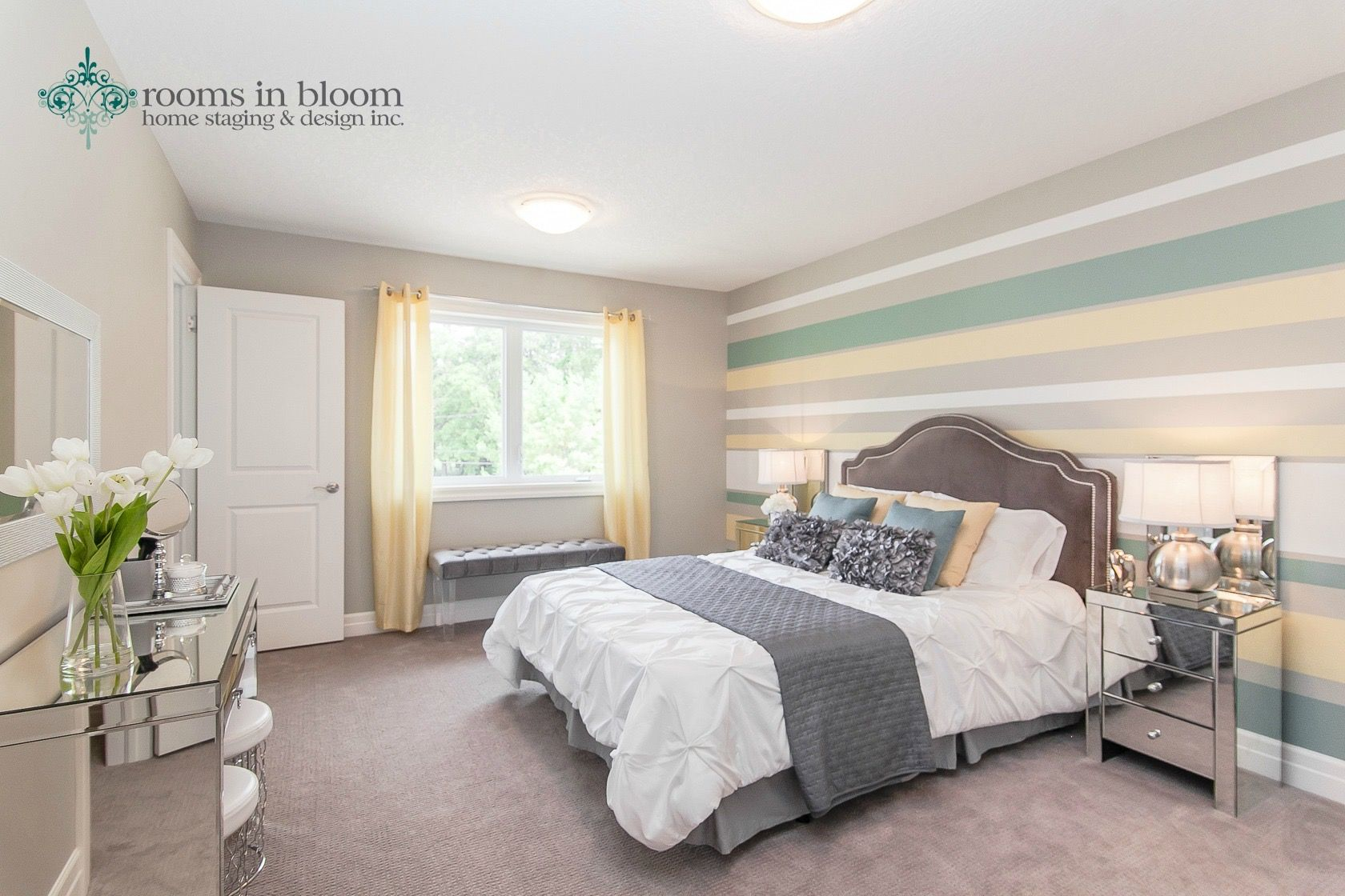 Master bedroom in our beautiful baden model home staging roomsinbloom master bedroom for Interior design staging companies