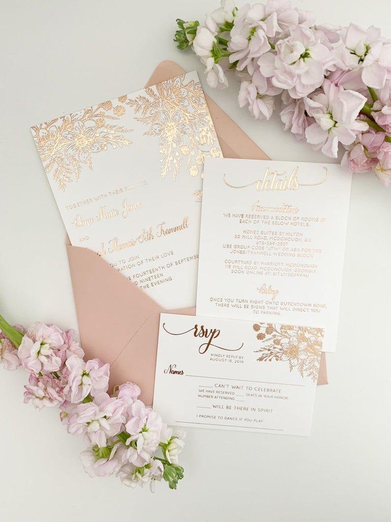 Rose Gold Wedding Invitations In 2020 Rose Gold Wedding Invitations Foil Wedding Invitations Gold Wedding Invitations