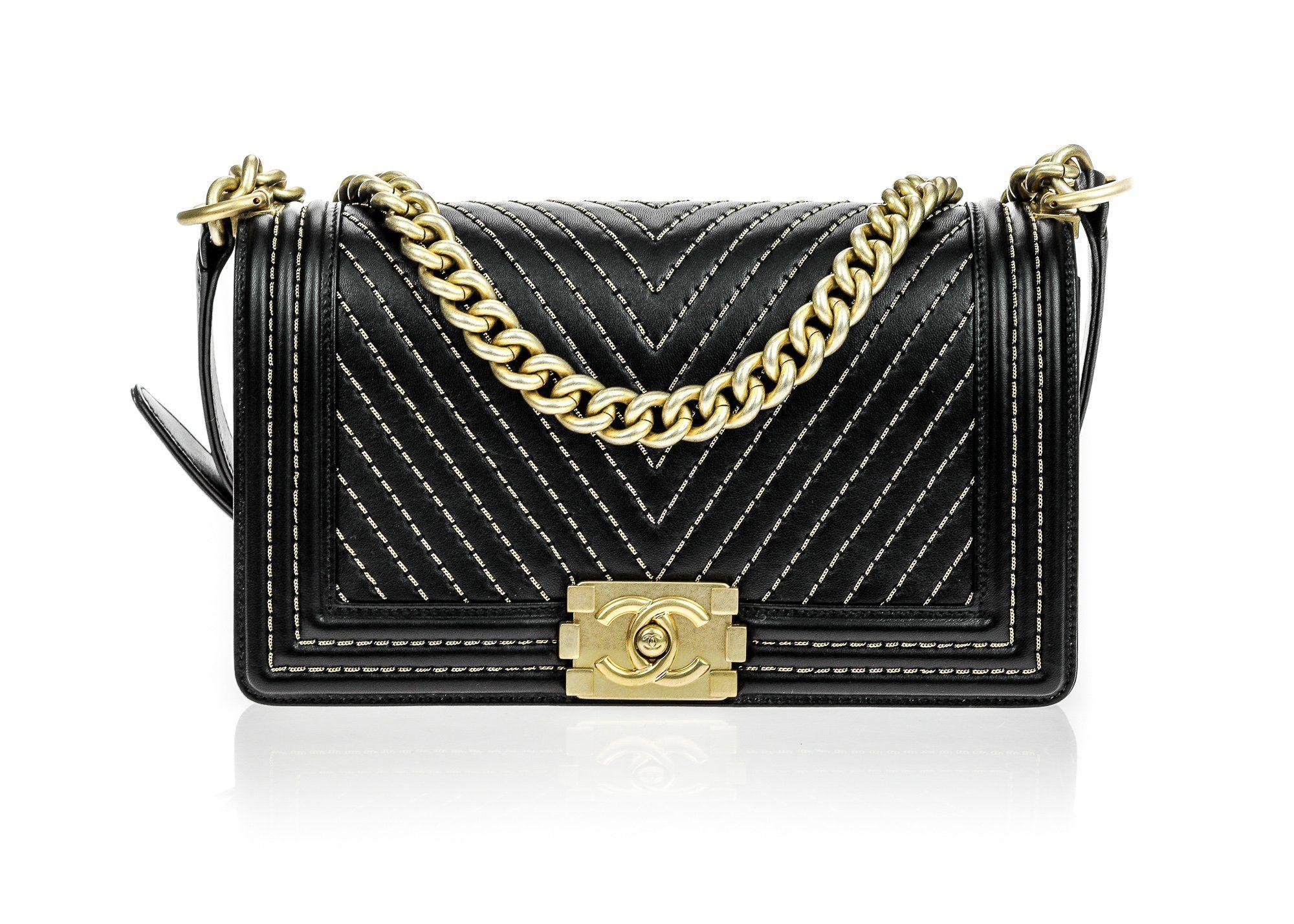 ccdf0912877606 Chanel Black Calfskin Chain Detail Chevron Medium Boy Flap Bag ...