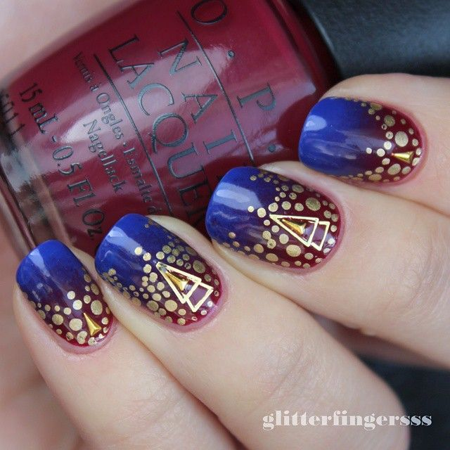 """Red-blurple gradient with studs and dots :) #opi #nailart #nailartwow #nailartaddict #nails2inspire #nailartjunkie #nailswag #nailartdesign #nailitdaily #nailsofinstagram #nailstagram #nailartoftheday #nailpromote #nailfeature #dailynails"" Photo taken by @glitterfingersss on Instagram, pinned via the InstaPin iOS App! http://www.instapinapp.com (02/19/2015)"