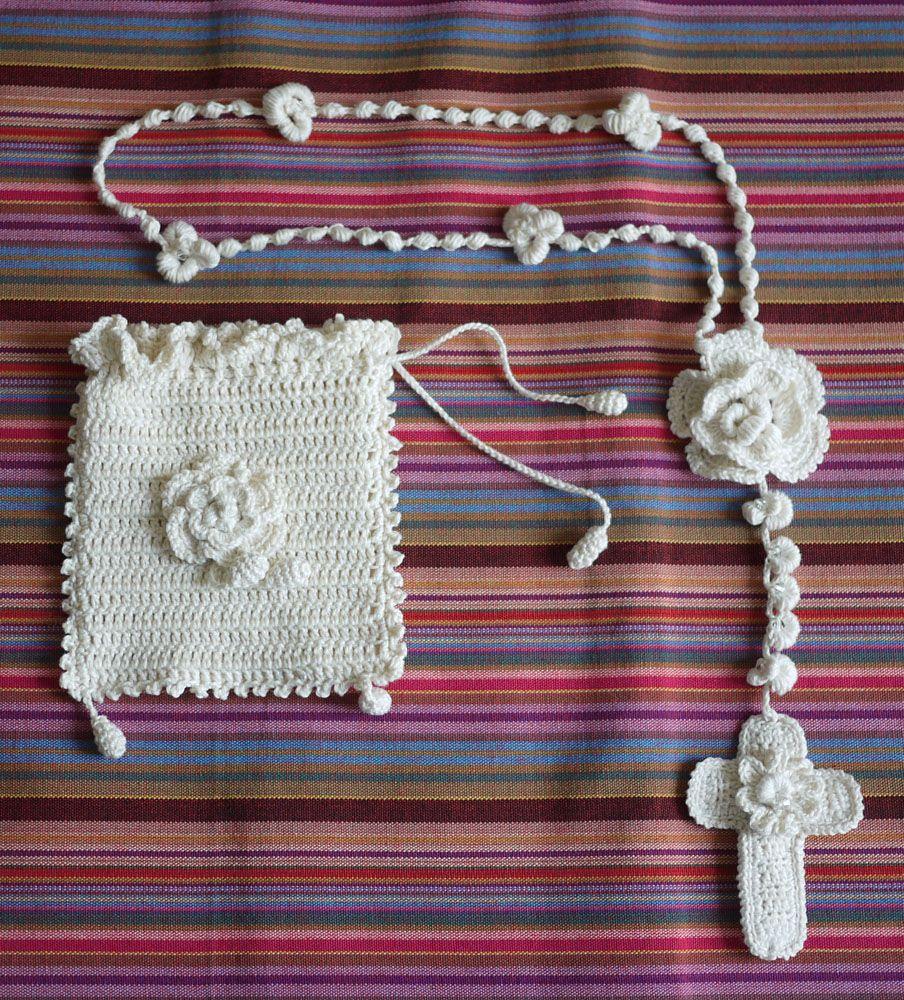 Rosario tejido en crochet con aplicaciones de cristal - Aplicaciones en crochet ...