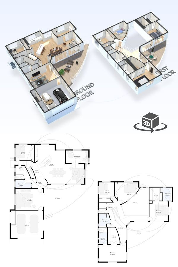 5 bedroom house floor plan in interactive 3D. Get your own ...