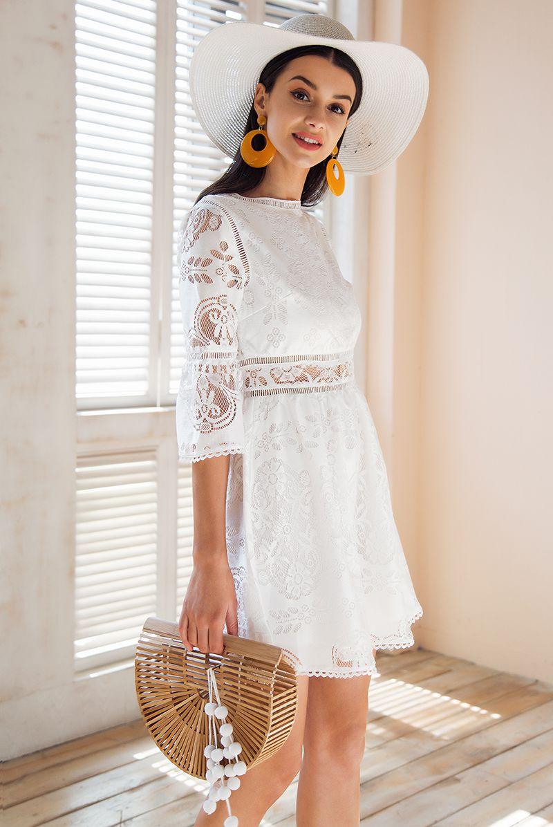 7dc9b2e2b Aliexpress.com: Compre Simplee Botão meia manga Oco out vestido de renda  mulheres streetwear