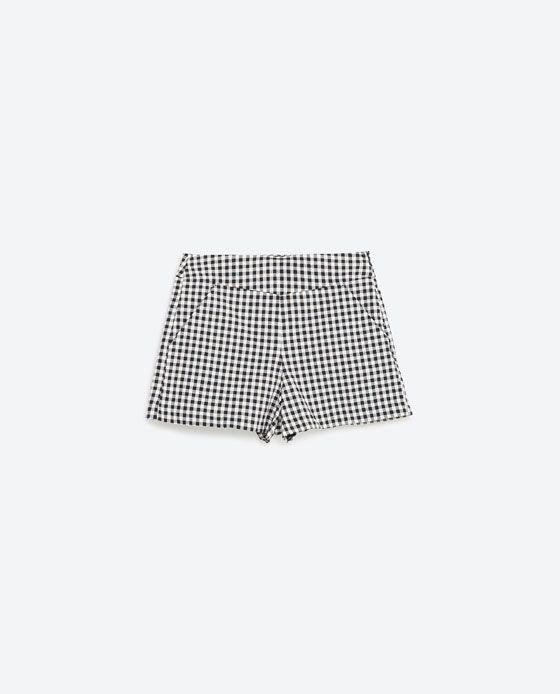 Image 8 of HIGH RISE CHECK SHORTS from Zara