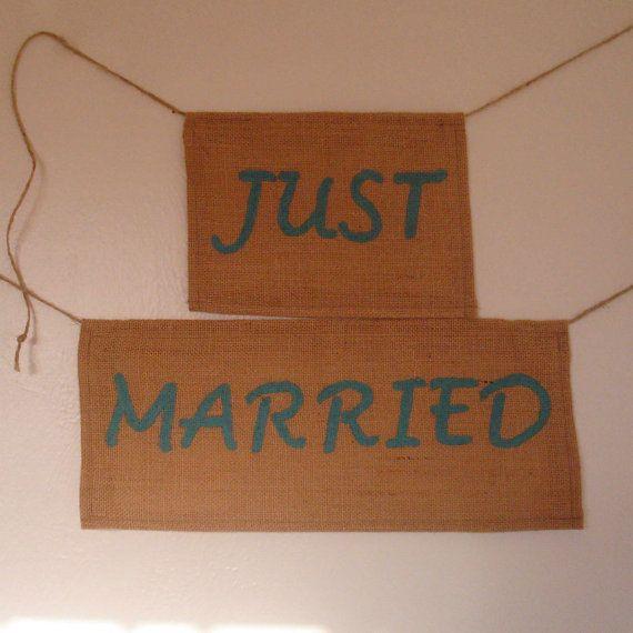 Just Married Burlap Sign  Custom Wedding Sign by WeddingsbySam, $22.00