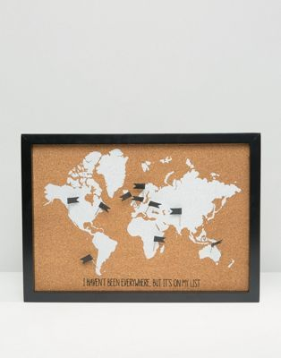 New Look Glitter World Map Cork Board | Flight school ...