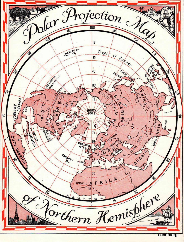 Polar Projection Map Carte Geographique