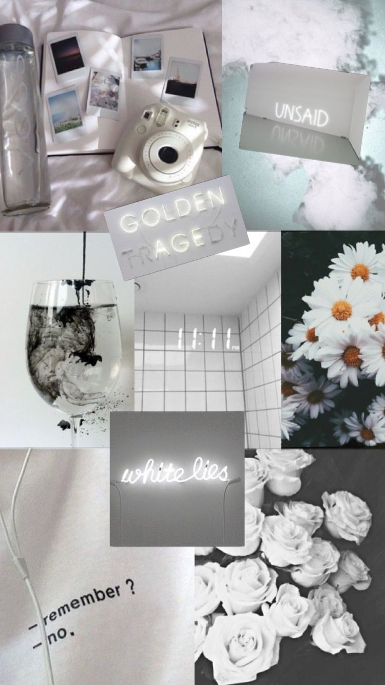 Aesthetic White Wallpaper Poster Bunga Ruang Seni Warna Koral