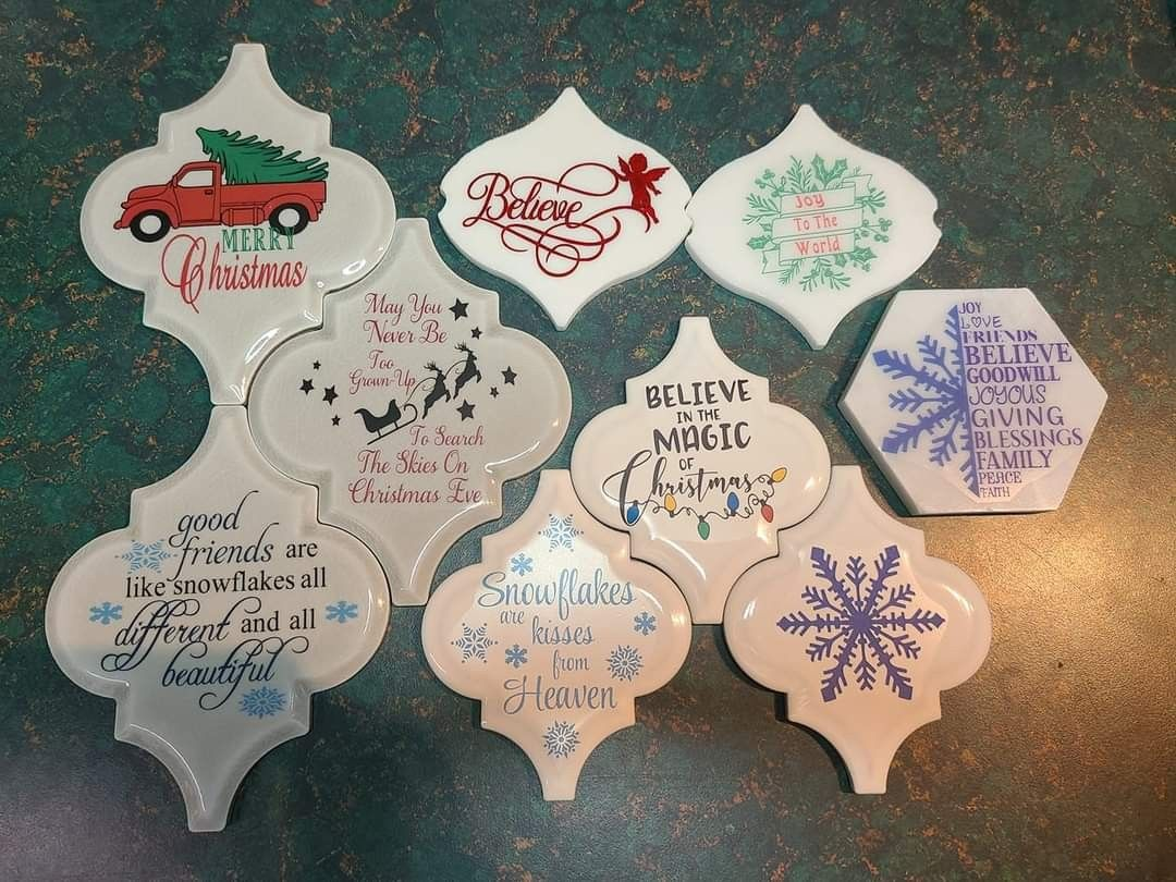 Pin By Marla Trindade On Tile Ornaments Diy Christmas Ornaments Christmas Ornaments Homemade Christmas Crafts