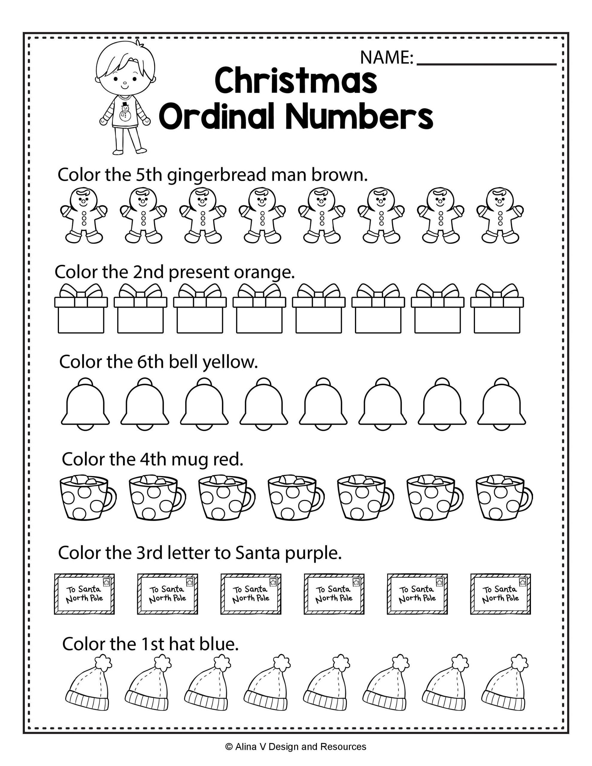 Ordinal Numbers Worksheet Kindergarten Christmas Ordinal