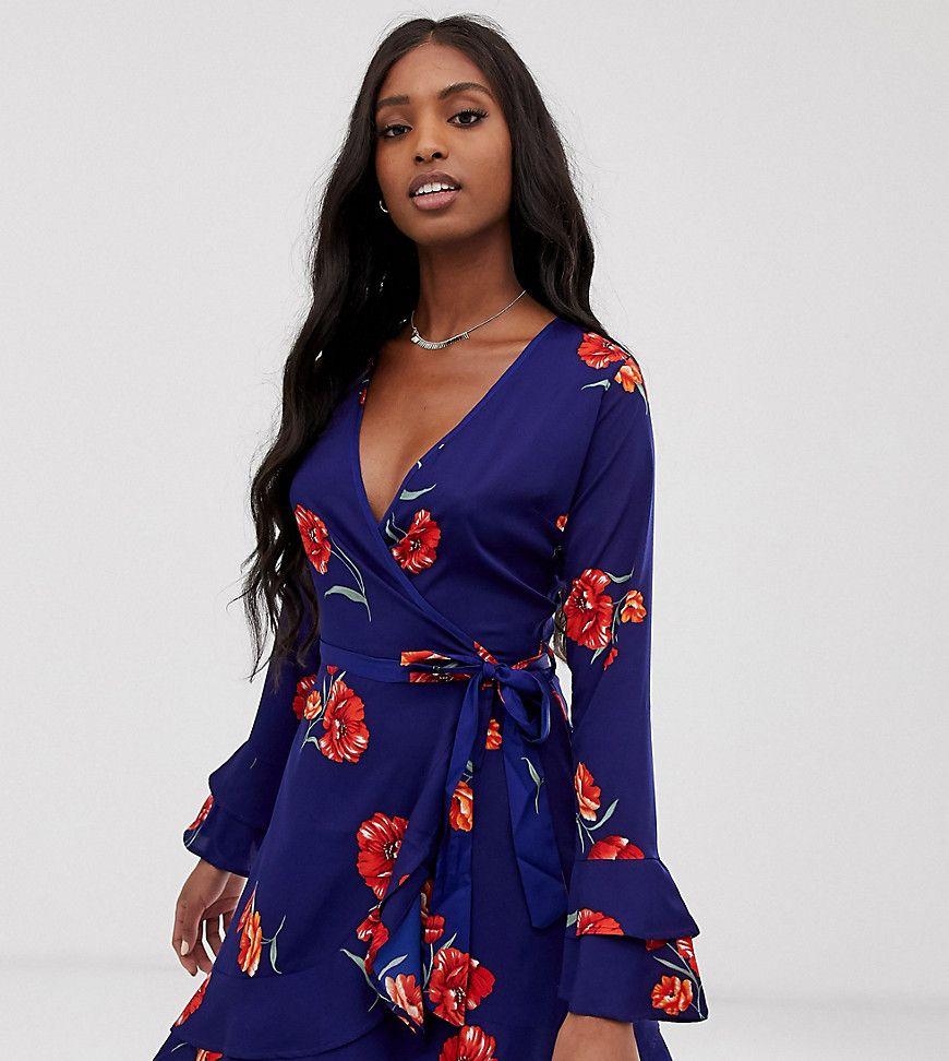 Influence Tall Wrap Frill Skirt Floral Dress In Navy [ 972 x 870 Pixel ]
