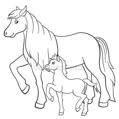 Disegni Da Colorare Animali Da Fattoria Madre Cavallo Con Puledro