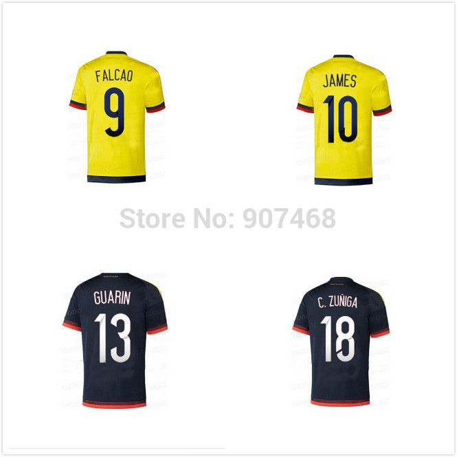 cefe6fe09da Top Thai 2015 2016 Colombia soccer jersey home away FALCAO Colombia jersey  15 16 JAMES RODRIGUEZ