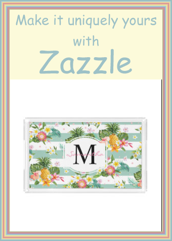 Frangipanis and Pineapple Tropical Monogram tray #tropical #white #and #green #stripes #kitchen #kitchenalia #monogram #monogrammed #personalized #personalised #yourname #initials #zazzleproducts