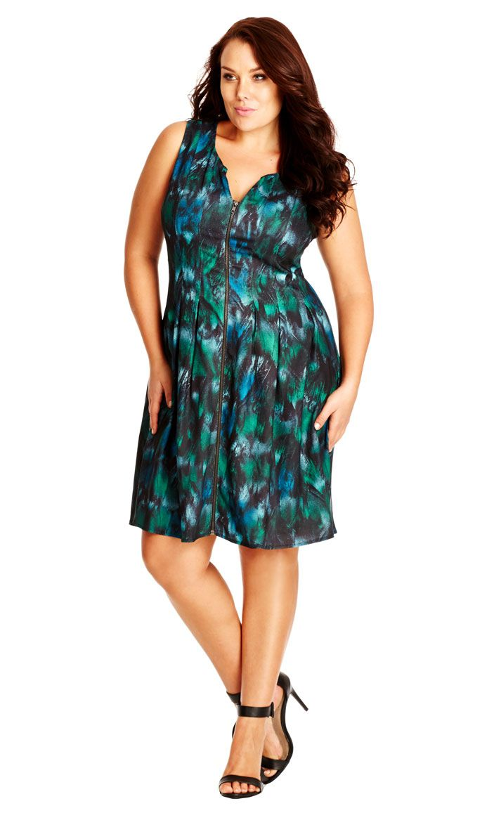 City Chic Zip Through Pleat Dress Womens Plus Size Fashion City