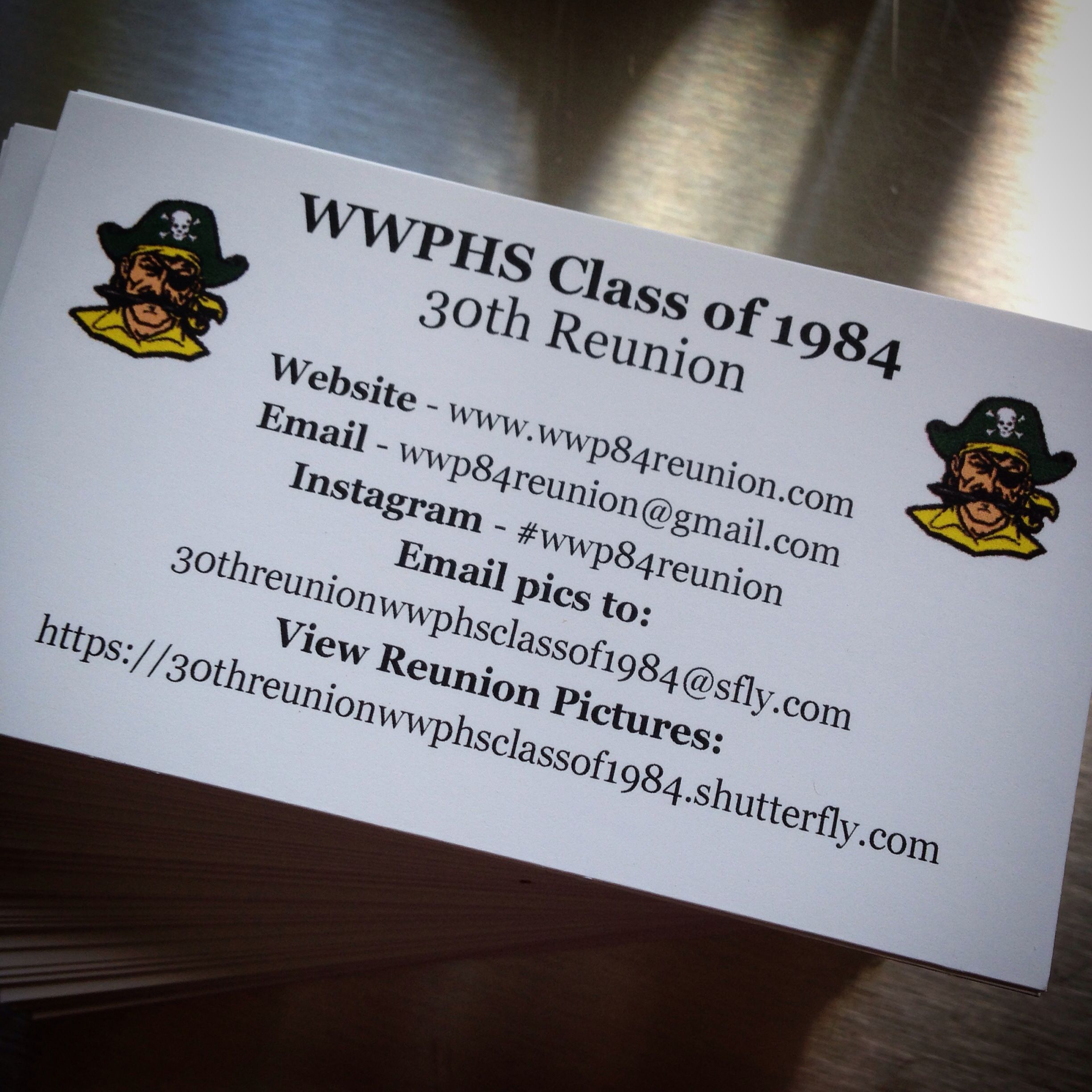 Business card handouts for reunion telling people what hashtag to ...
