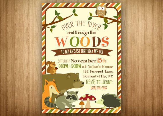 Woodland Forest Animal Birthday Invitation Shower Invitation brown