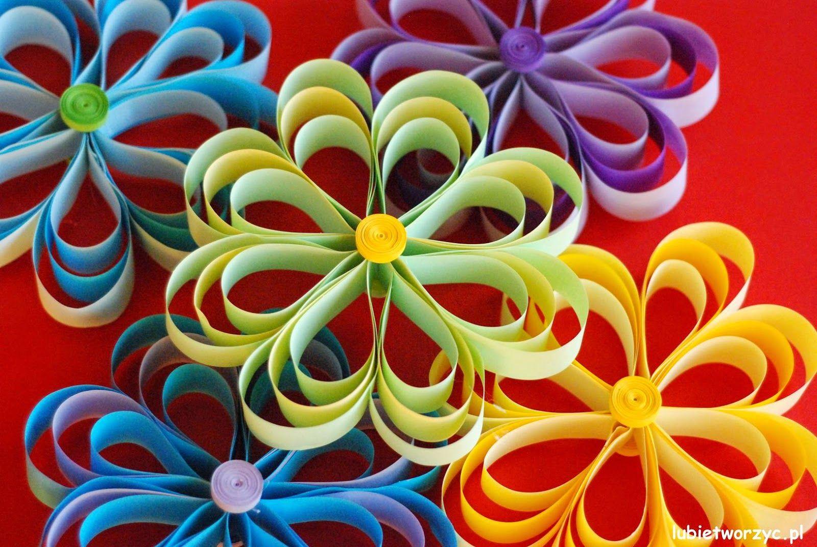 Открытка мая, открытка цветок из полосок