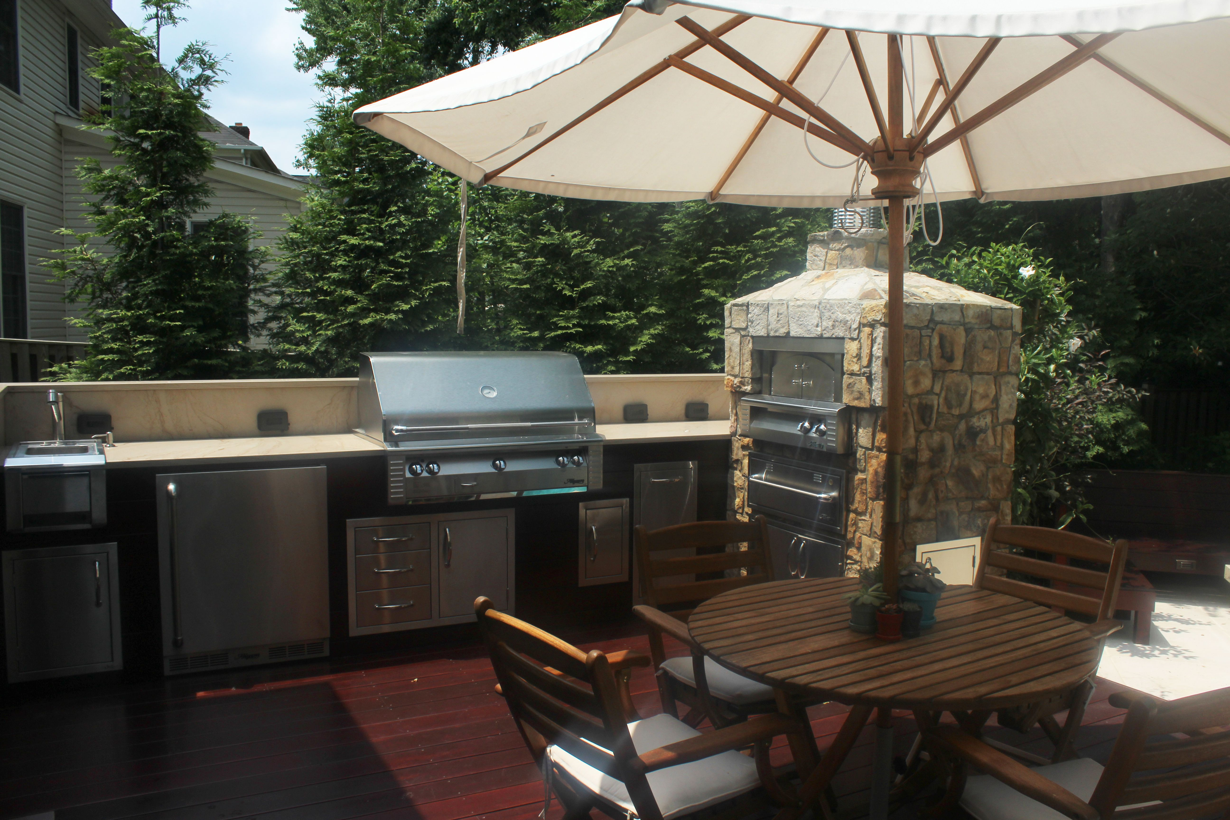One Of Our Recent Outdoor Kitchen Projects Outdoor Kitchen Outdoor Kitchen Grill Kitchen Projects