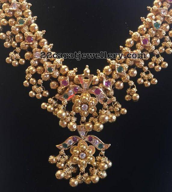 Gold Muvvalu Haram by Bhavani Jewellers